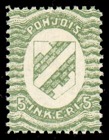 5 First Issue 1920 Stamp North Ingria, magnified