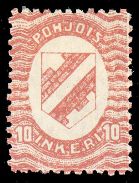10 First Issue 1920 Stamp North Ingria, magnified