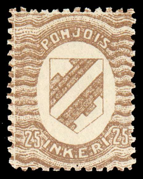 25 First Issue 1920 Stamp North Ingria, magnified
