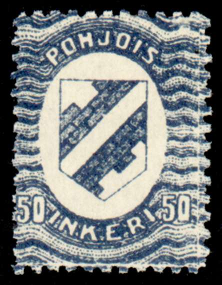 50 First Issue 1920 Stamp North Ingria, magnified