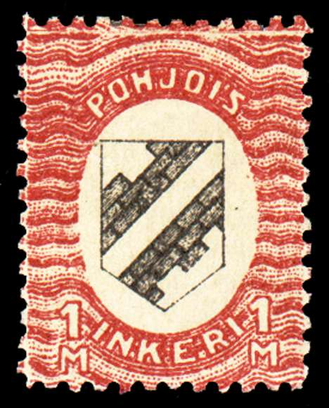 1m First Issue 1920 Stamp North Ingria, magnified