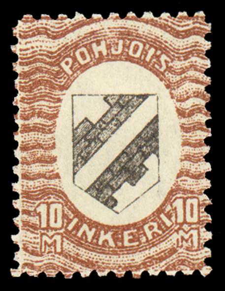 10m First Issue 1920 Stamp North Ingria, magnified