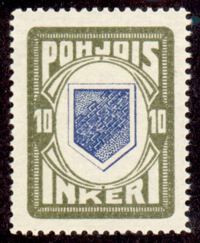 10 Second Issue 1922 Stamp North Ingria, magnified