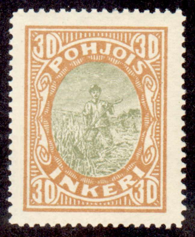 30 Second Issue 1922 Stamp North Ingria, magnified