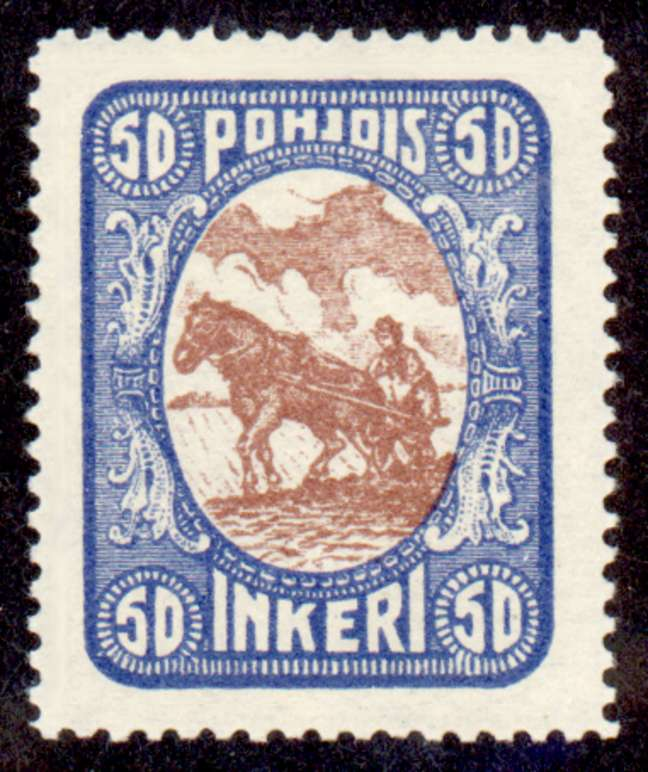 50 Second Issue 1922 Stamp North Ingria, magnified