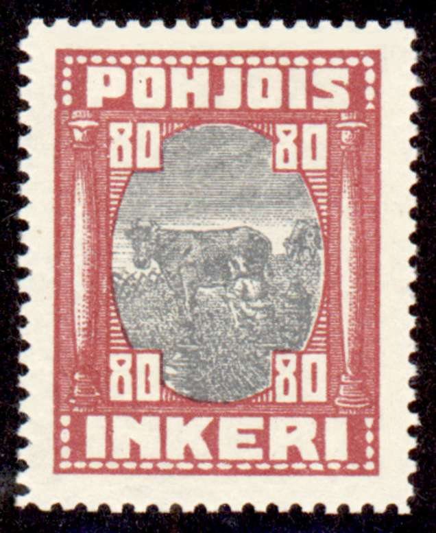 80 Second Issue 1922 Stamp North Ingria, magnified