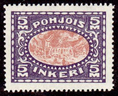 5M Second Issue 1922 Stamp North Ingria, magnified