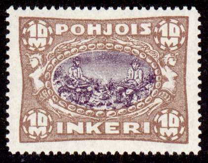 10M Second Issue 1922 Stamp North Ingria, magnified